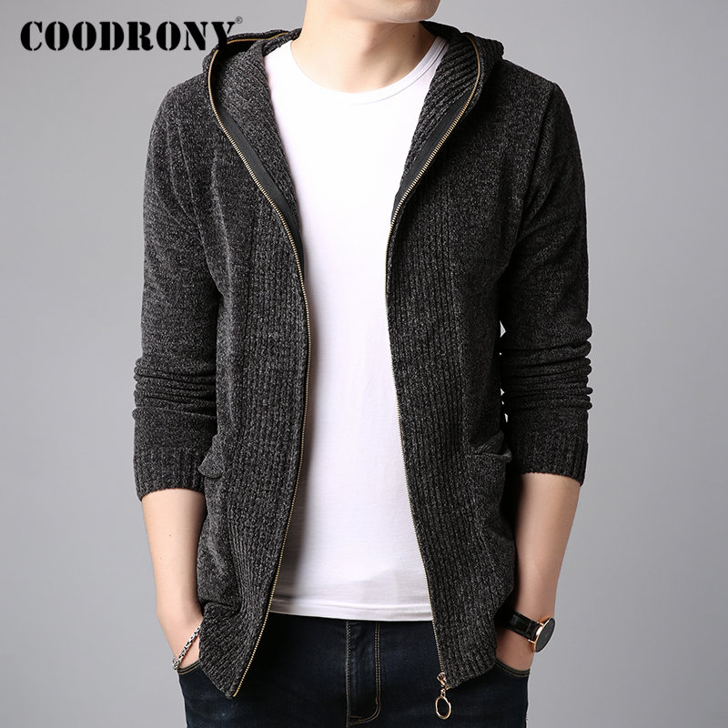 COODRONY Coat Men Sweater Wool-Cardigan Hooded Cashmere Fashion Winter Streetwear Thick