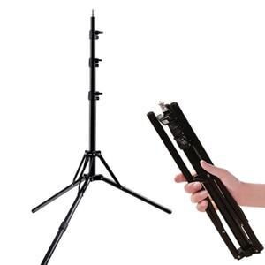 Image 1 - 2メートル6.5ftスタンド三脚折りたたみスタンドライトソフトボックス写真ビデオ照明フラッシュガンランプ用スタンド/傘フラッシュ