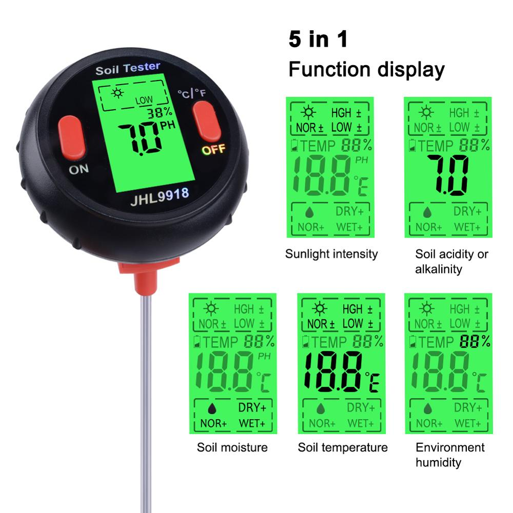 Image 2 - 5 in 1 PH Soil Tester Water Moisture Meter Humidity Thermometer  Photometer Water Meter Garden Plants Hydroponics Analyze 40%offPH  Meters