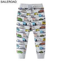 SAILEROAD 2-7Years Cartoon Car Pattern Boys Full Length Pants Spring Autumn Baby Kids Casual Pants Cotton Children Boy's Trouser недорого