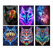 5D Diy Diamond Wolf Painting Full Drill Square Animal Embroidery Sale Pictures With Rhinestones