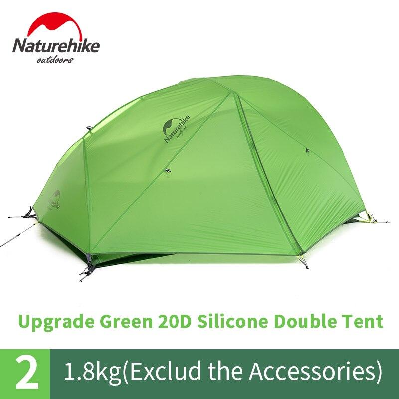 Naturehike 2 Person Ultraleicht Zelt Verbesserte Stern Fluss Camping Zelt 20D Silikon Mit Schnee Rock Zelt Mit Kostenloser Matte NH17T012-T