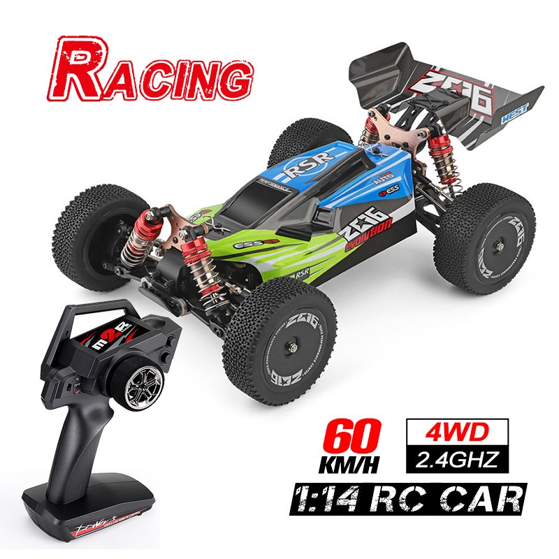 1:14 2.4G RC Car Racing Remote Control Car Competition 60 km/h Metal Chassis 4WD Electric RC Toys USB Charging