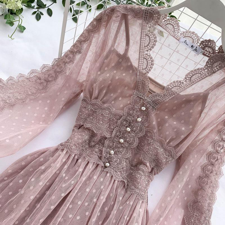 Lace Floral V-Neck Long Sleeve Polka Dot Dress 35