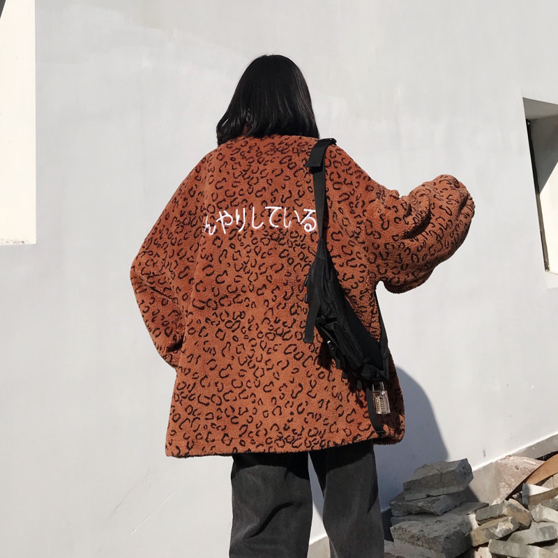 Focal20 Streetwear Leopard Japanese Letter Embroidery Women Coat Zipper Female Outerwear Casual Loose Warm Winter Lady Coats 3