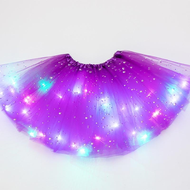 Saia tutu de princesa infantil com luz led, brilhante, traje de festa de casamento, dança, fantasia, cosplay, roupa de led