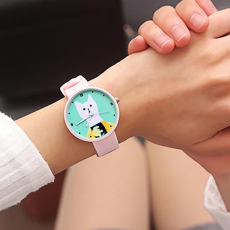 Новые детские часы с рисунком белого кота, Модные цветные женские кварцевые часы для детей, детские наручные часы для мальчиков и девочек