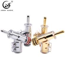 8個ハイエンドyivo真鍮銅メッキ金やロジウム銃型xsshオーディオアダプタロック型6ミリメートルバナナコネクタ