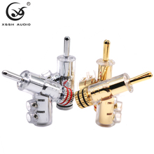 8pcs Hi end YIVO Brass Copper Plated Gold or Rhodium Gun type XSSH Audio Video Speaker Adapter Locking type 6mm banana connector