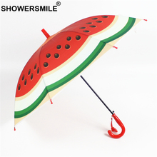 SHOWERSMILE Watermelon Fruit Umbrella Kids POE Children  Transparent Rain Child Boy Girls Guarda Chuva