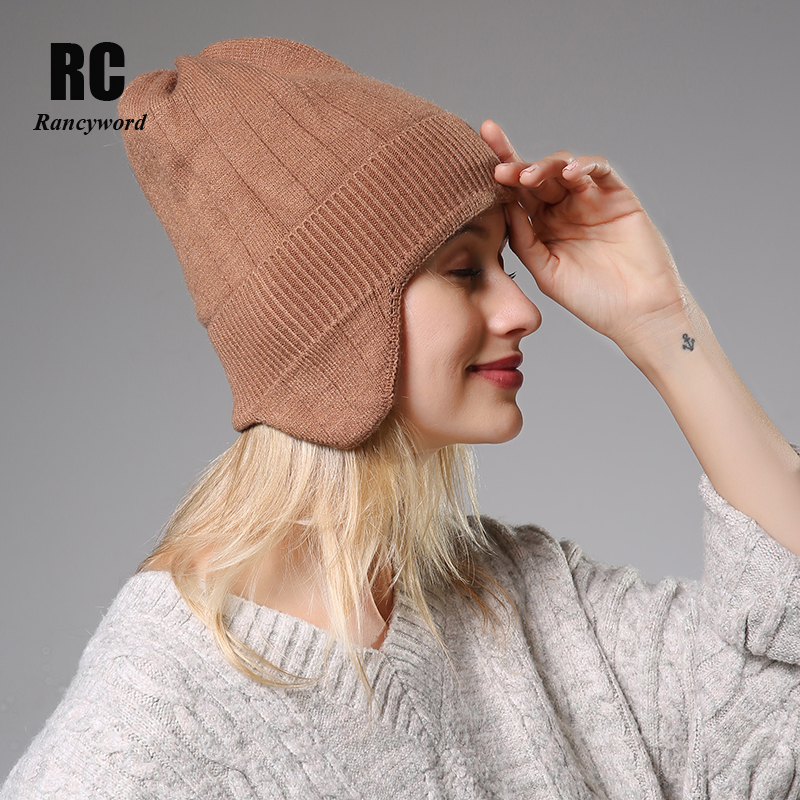 Causal Winter Knitted Hats For Women Fashion Keep Warm Manual Rabbit Hair Knitted Earmuffs Soft Hats Girls Caps High Quality Fem