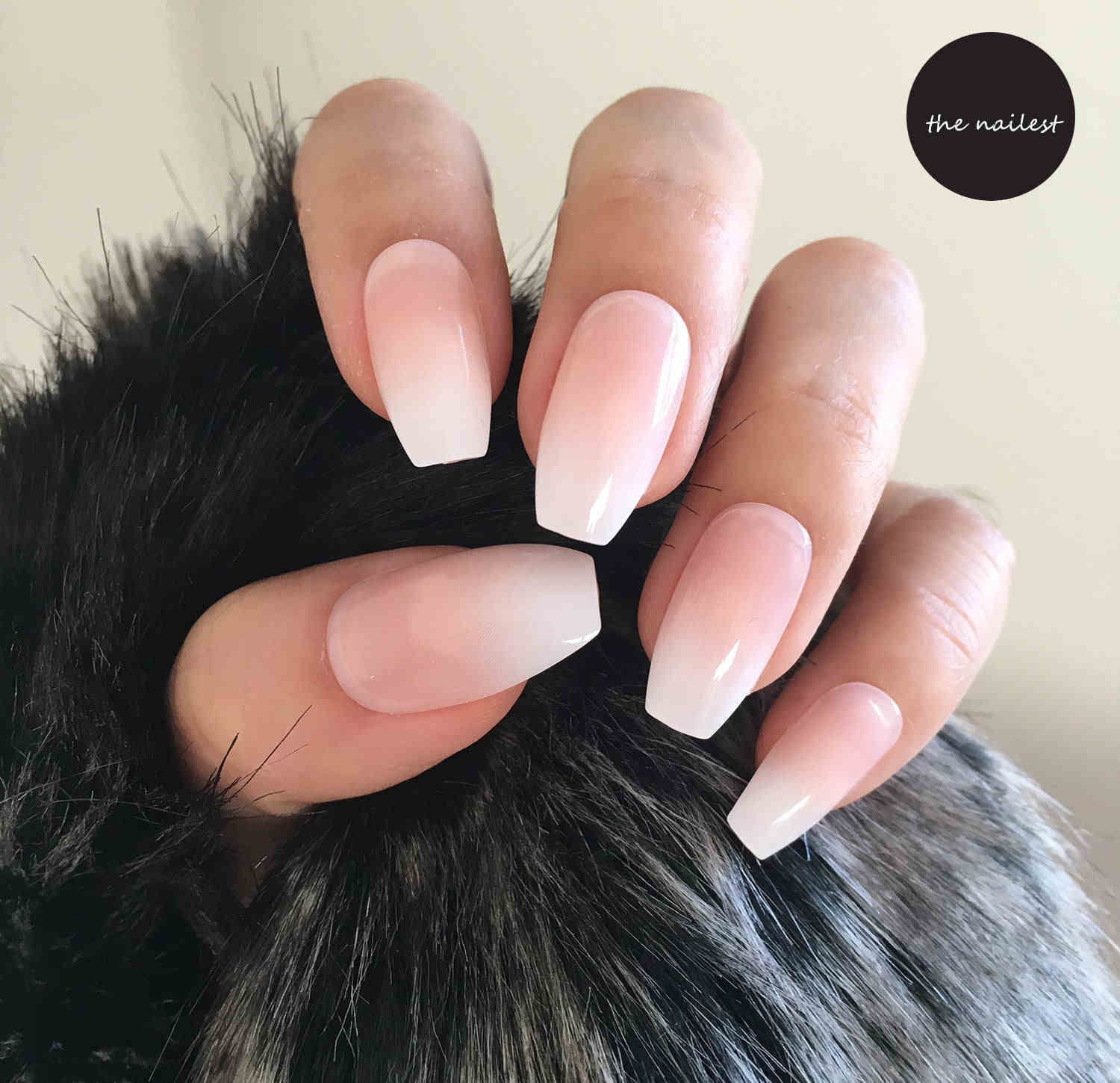 Ombre Coffin Nep Nagels Short French Fake Nails Ballerina Gradient Press On Takma Tirnak With Faux Ongles Autocollant