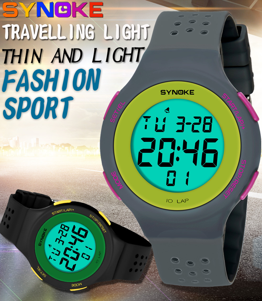 SYNOKE Student Couple Watches Multi-Function 50M Waterproof Watch LED Digital Double Action Watch