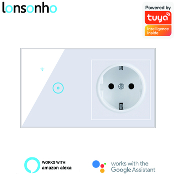 Lonsonho Tuya eWeLink WiFi Smart Switch Socket EU UK US Universal Outlet Glass Touch Panel Switches Alexa Google Home Compatible compatible 4pp320 0653 k01 touch panel