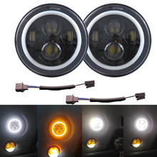 "Pairs 7 ""Ronde LED H4 H13 Koplamp W/DRL Projector Koplamp Halo Angel Eyes Richtingaanwijzer Voor Jeep JK Lada 4x4 urban Niva Hummer(China)"