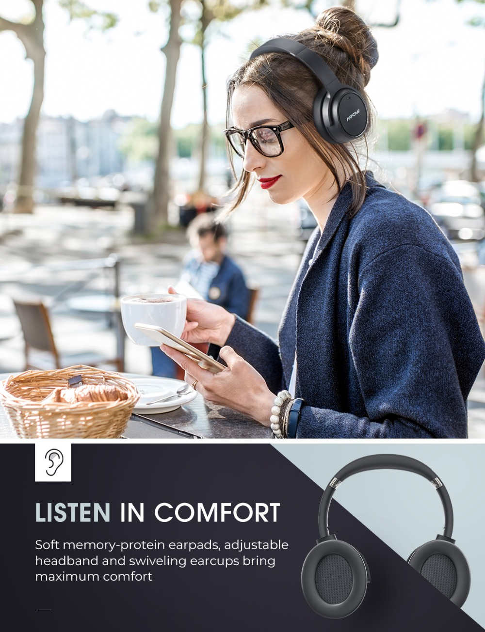 Mpow H19 Wireless Headphones ANC Bluetooth 5.0 Headphone 30H Playing Time Active Noise Cancelling Headset Deep Bass For Computer (5)