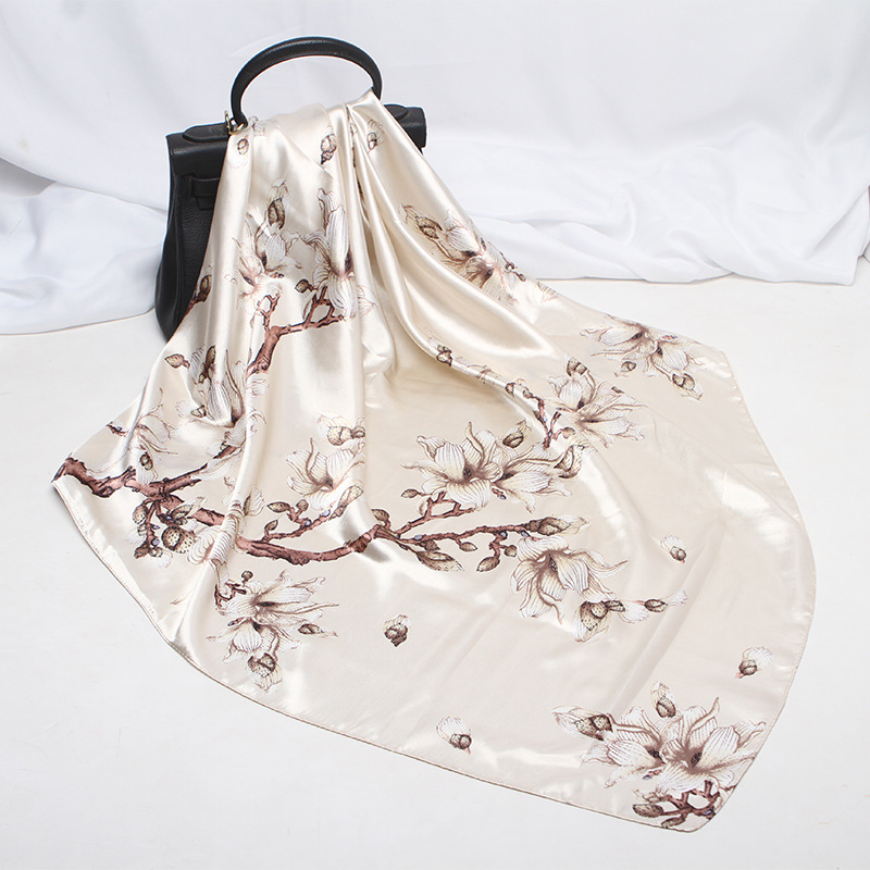 90*90CM Square Scarf Hair Tie Band Party Print Women Elegant Small Vintage Skinny Retro Head Neck Silk Satin Flower