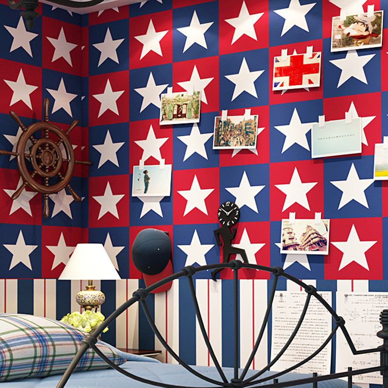 British Style Mediterranean CHILDREN'S Room AB Version Of Five-pointed Star Vertical Striped Wallpaper Boy Background Wallpaper