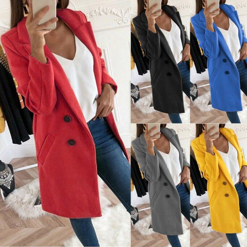 Plus Size S-2XL Women's Warm Winter Woolen Trench Overcoat Formal Slim Pocket Outwear Long Jacket Casual Tops Coat
