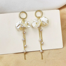 Tassel Earring Long Dangle White Shell Petal Gold Zircon Fashion Sweet Simple Style Pendientes Bohemia  Jewelry For Girls EF53