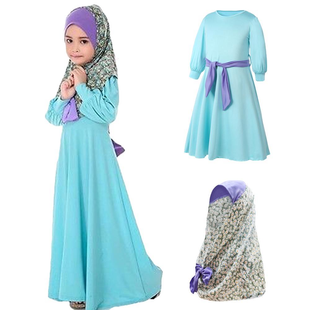 Two Sets Flower Kids Clothing Fashion Child Abaya Muslim Girl Hijab Dress Jilbab Niqab Burqa Khimar Amira Islamic Kaftan Prayer
