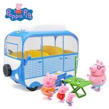 פפה חזיר צעצועי פפה חזיר Camper רכב צעצוע פעולה דמויות בן משפחה מוקדם למידה חינוכיים צעצועי פפה חזיר מתנת יום הולדת