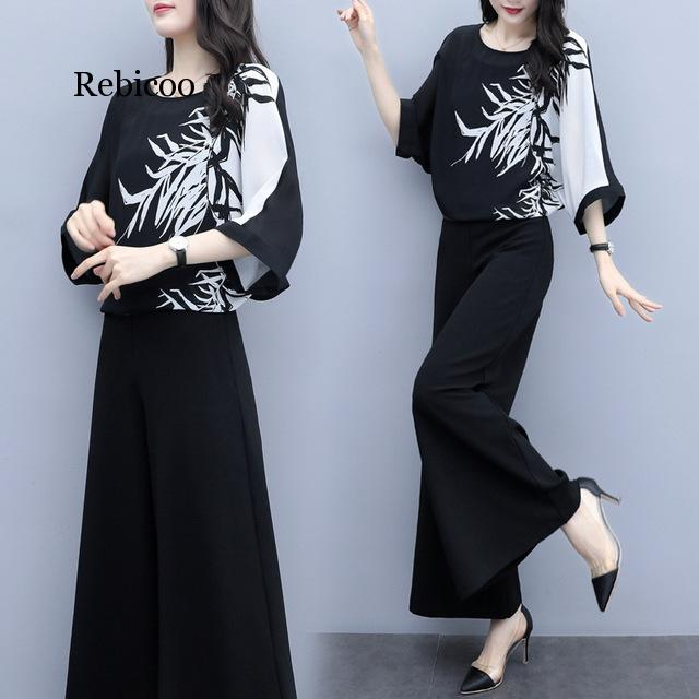 Chiffon Pantsuits Women Pant Suits For Mother Of The Bride Outfit Formal Wedding Guest Blouse Top Wide Leg Trousers 2 Piece Set