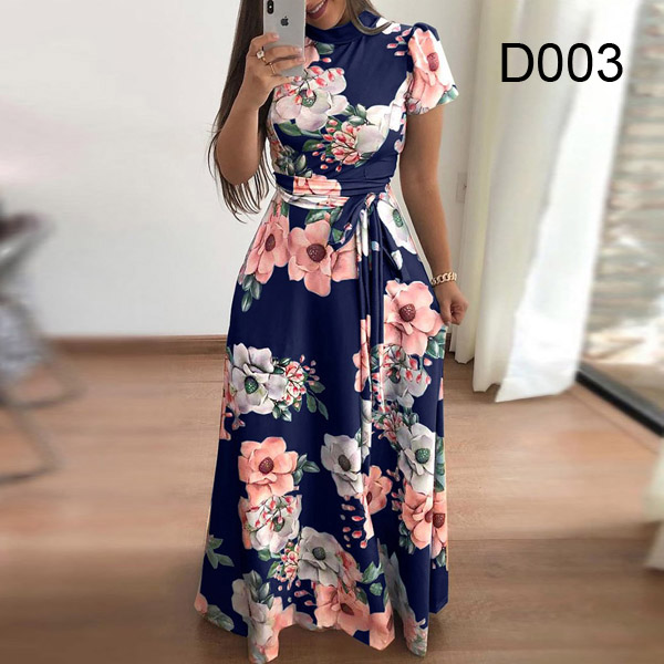 Plus size women's summer long super long dress 2020 casual long sleeve flower print dress casual high collar bandage Vestidos 8