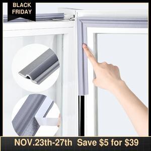 Image 1 - Tira de sellado de ventana autoadhesiva, banda de goma insonorizada y resistente al viento, de nailon, espuma para puertas y ventanas correderas