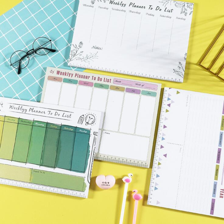 2020 Newest Unique 54 Sheets A4 Weekly Organizer Memo Pads Note Pad Daily To Do List Notebook Planner School Office Stationery