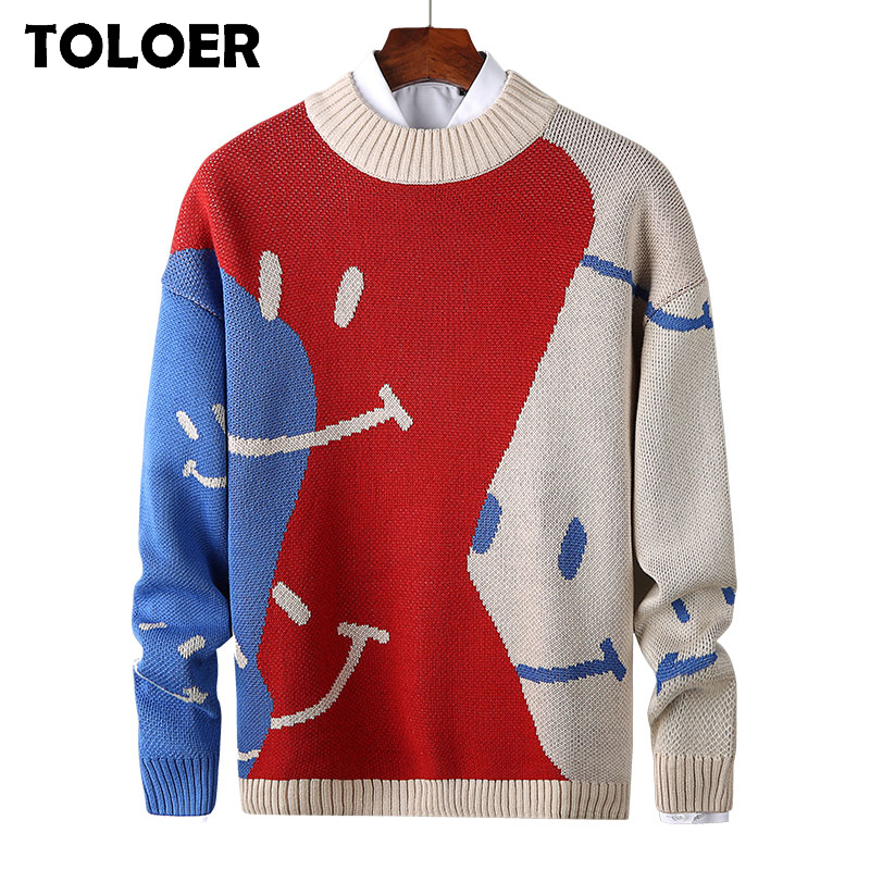 Sweater Men Streetwear Retro Pullover Male Hip Hop Autumn New Pull Over Spandex O-neck Oversize Couple Casual Men''s Sweaters 3XL