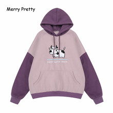 FROHE ZIEMLICH frauen Cartoon Kuh Stickerei Mit Kapuze Sweatshirts Harajuku Kawaii Hoodies Winter Plus Samt Langarm Pullover(China)