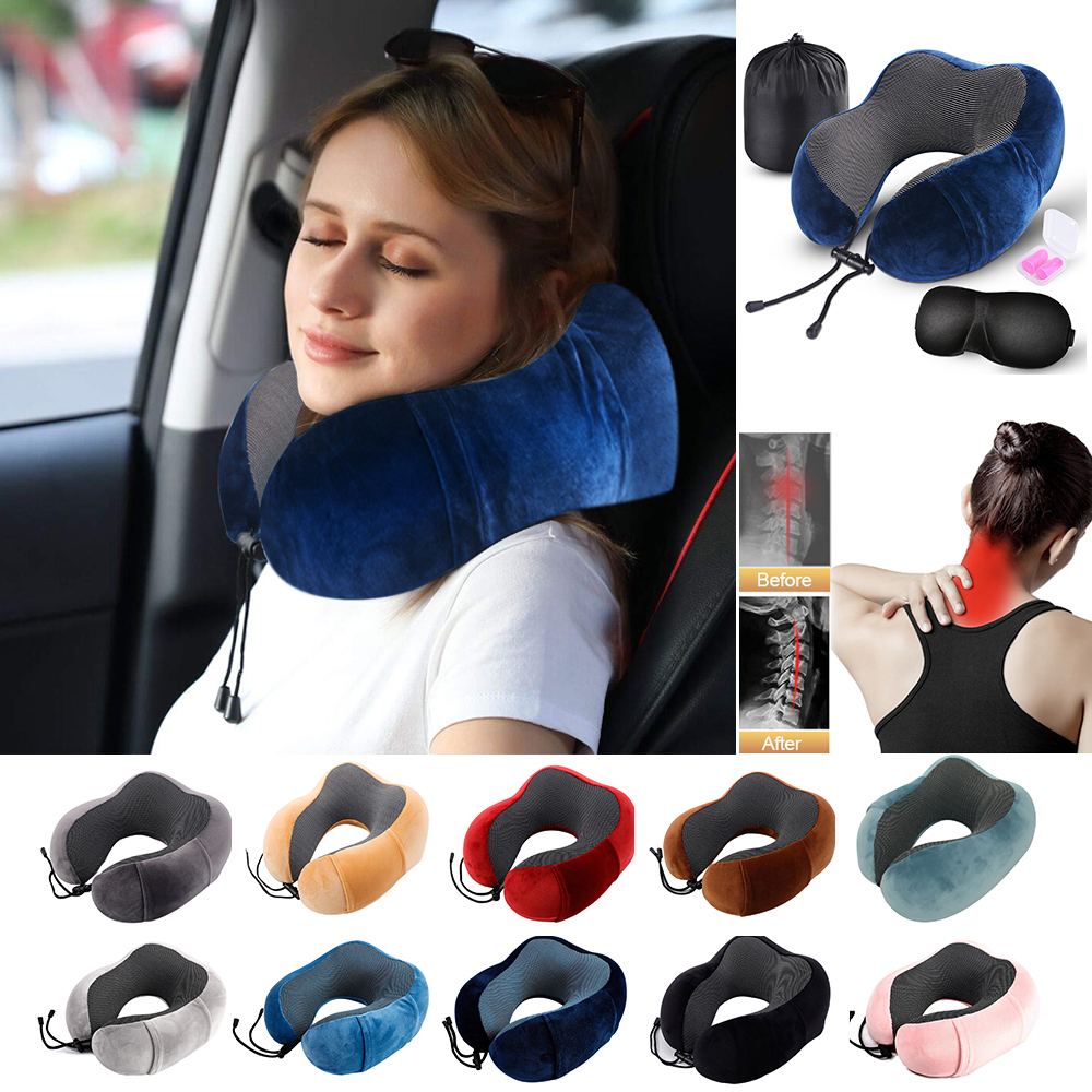Travel U Shape Pillow Neck Memory Foam Pillow Cushion Office Nap Pillows for Sleep for Airplane Car Flight Head Chin Support image