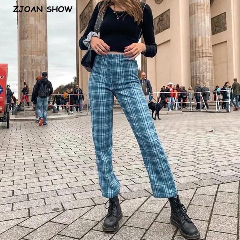 2020 Streetwear Gingham Plaid Straight Pants Vintage Woman Full Length Causal Trousers Cool Girl Wide Leg Pants