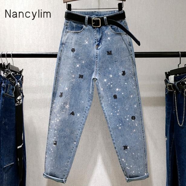 Spring Autumn Light Blue Jeans Women New Full Hot Diamond Loose Denim Harun Pants Letter Embroidery High Waist Skinny Dad Pants