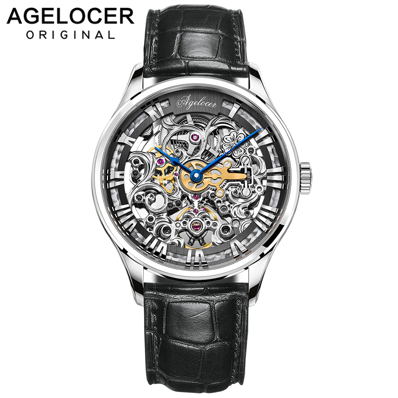 AGELOCER Swiss Skenleton Watches Men Luxury Brand Men's Fashion Automatic Hollow Out Man Mechanical Watches Relogio Masculino