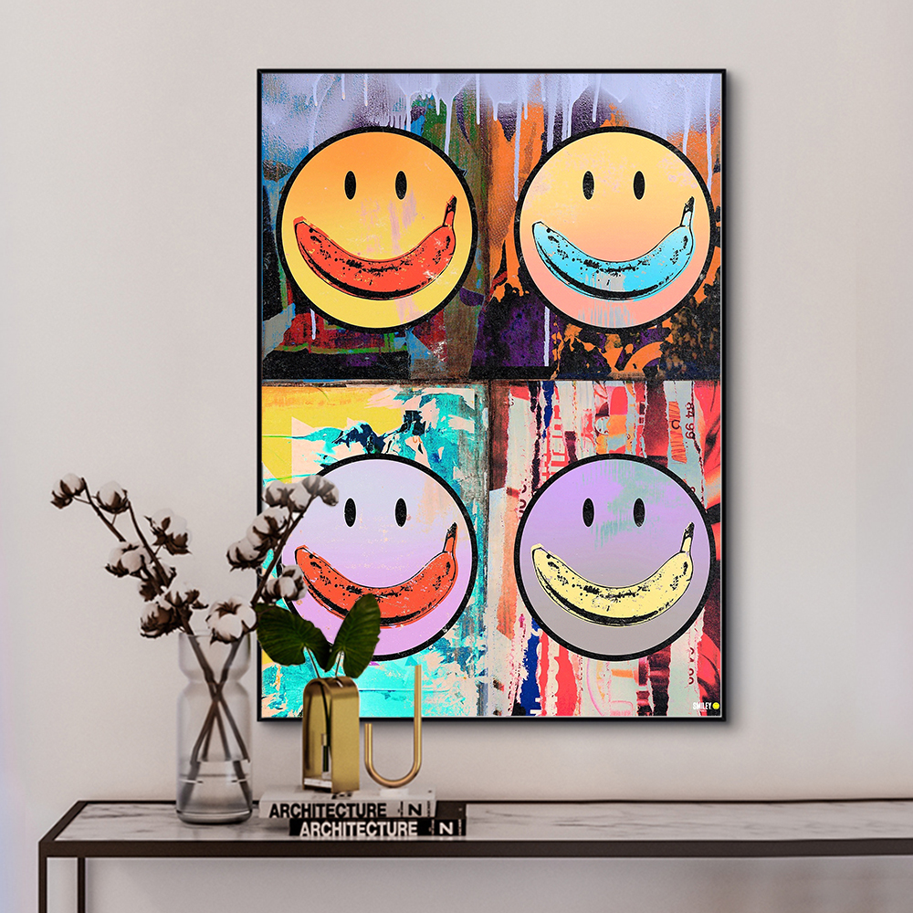 DDWW Motivational Canvas Painting Smile Face Entrepreneur Quote Funny Canvas Wall Art Print on Canvas for Home Decor Picture Art
