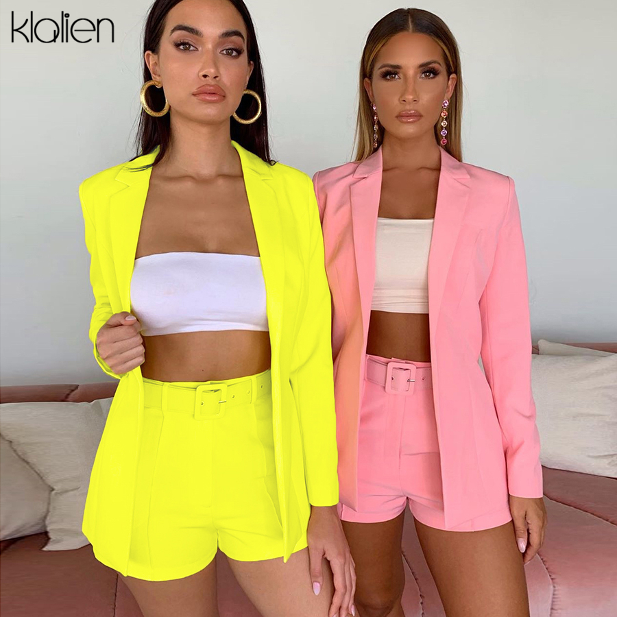 KLALIEN Autumn Neon Color Casual Coats + Waistband Shorts 2 Pieces Suits 2019 Sale Office Basic Multicolor Selection Suits Mujer