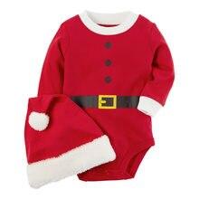 0-24 meses meninos meninas roupas traje de natal da criança bonito papai noel 2 pçs conjunto macacão + chapéu conjunto crianças moda terno