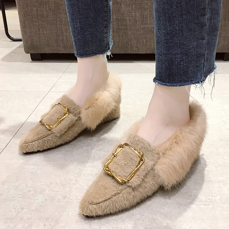 pointed toe mink hair long fur loafers chunky heels metal decoration buckle slip-on moccasins all match furry plush espadrilles 101