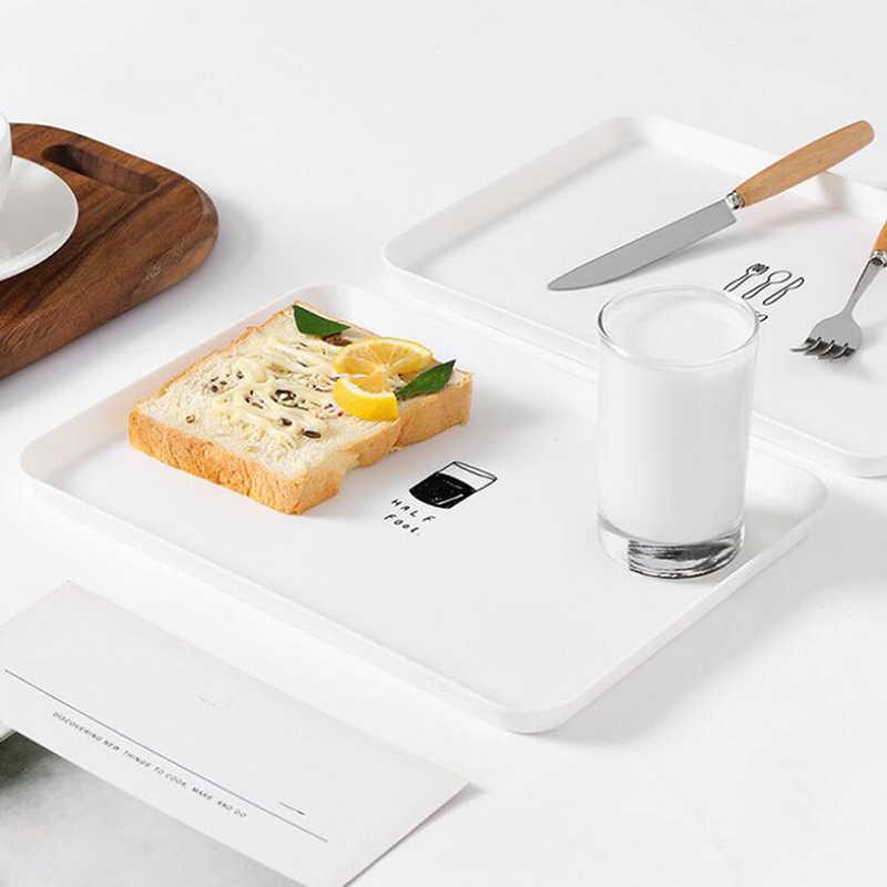 Plastik Makanan Penutup Piring Persegi Panjang Hidangan Manis Snack Hidangan Steak Piring Sarapan Makan Buah Nampan Makanan Tray