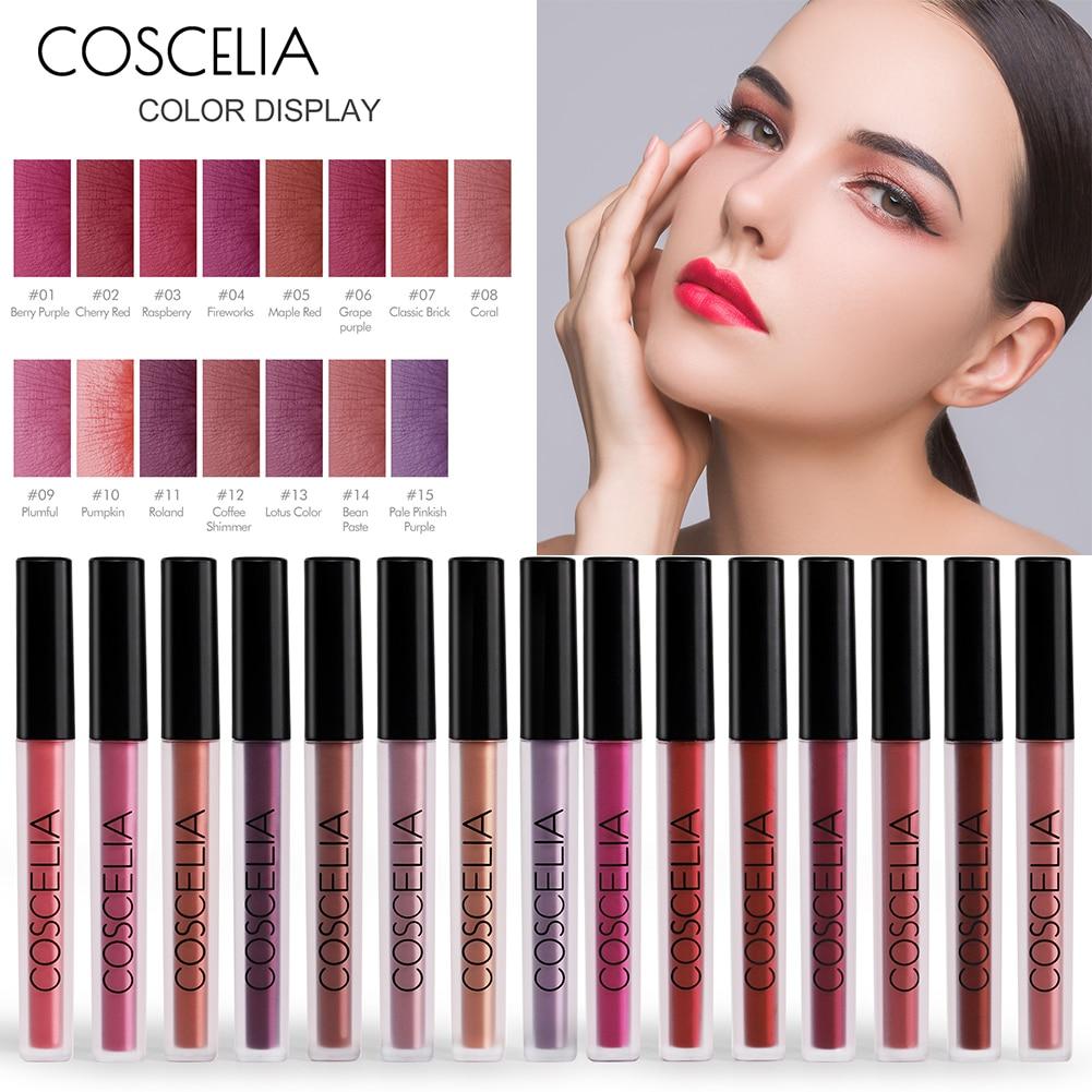 COSECELIA 15 Color Matte Lipgloss Sexy Liquid Lip Gloss Matte Long Lasting Waterproof Long-lasting Lip Tint Cosmetic Makeup