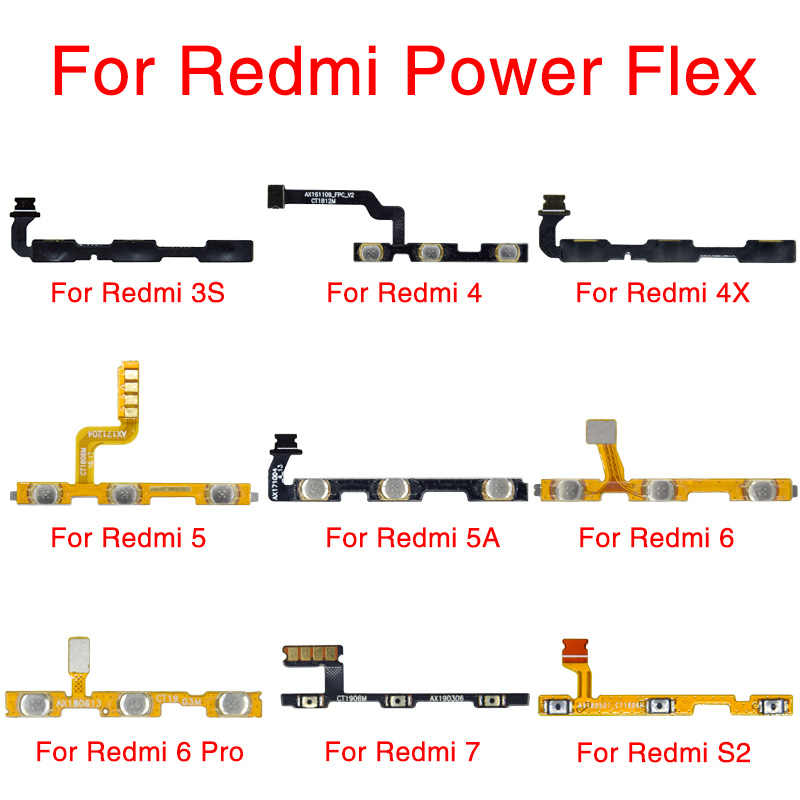 1Pcs Power Knop Flex Vervanging Voor Xiaomi Redmi S2 3 3X 3S 4A 4X 5A 6A 7 5 plus Note 5 6 Pro Mute Volumeregeling Side Switch