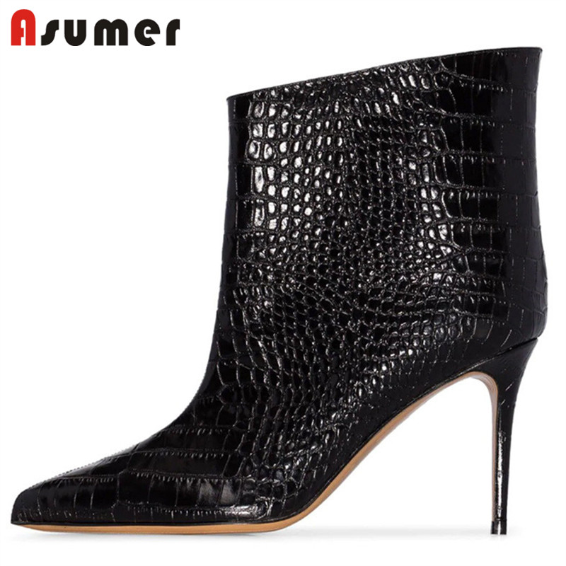 ASUMER 2020 big size 45 fashion Brand ankle boots women pointed toe stiletto high heels autumn winter boots female dress shoes