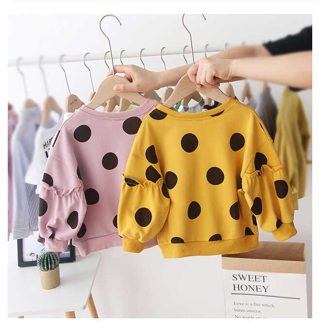 Autumn Winter Children Hoodies Kids Baby Girls Hoodies Print Dot Sweatshirts Long Sleeves Toddler Girl Clothes