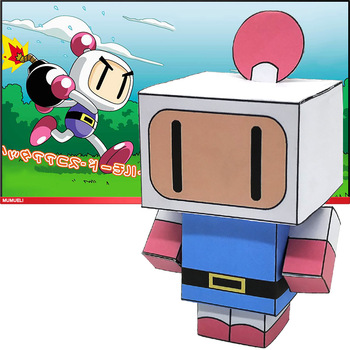 No-glue Bomberman Mini Folding Cutting Cute 3D Paper Model Papercraft Japan Anime Figure DIY Cubee Kids Adult Craft Toys CS-019 image
