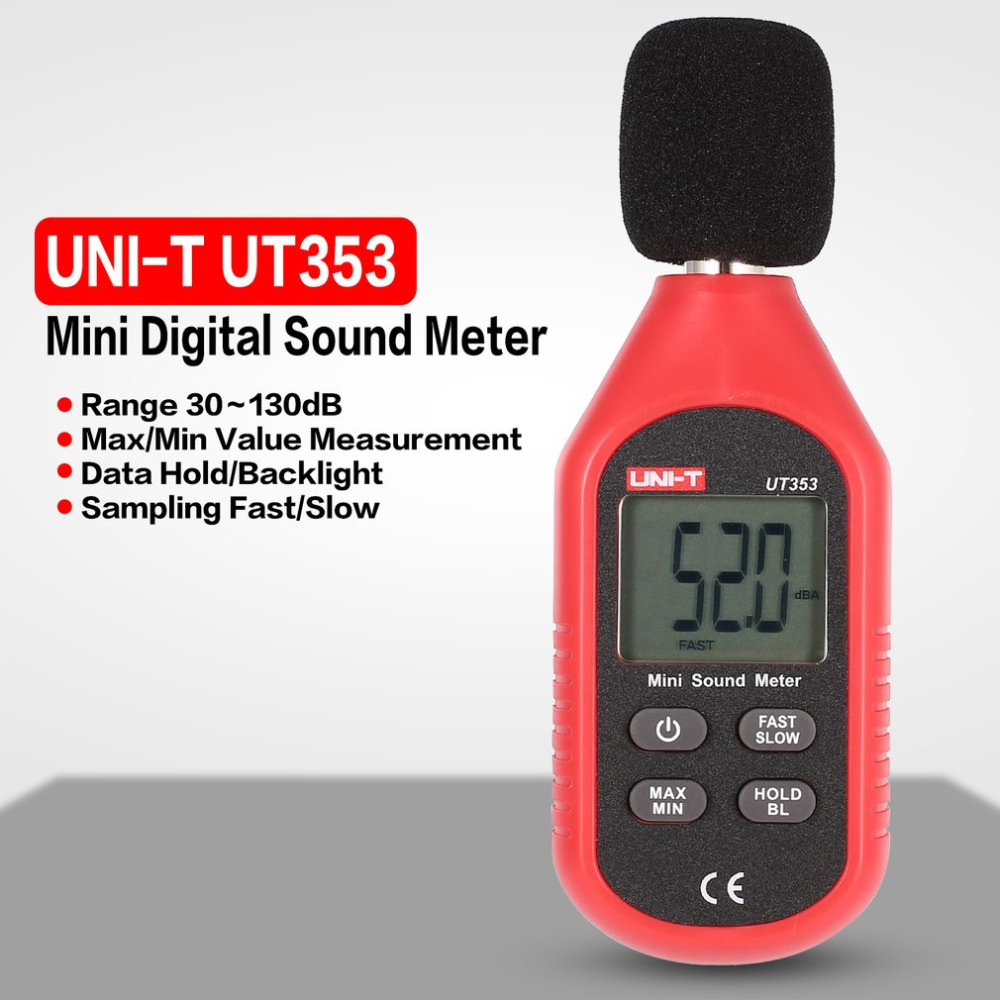 UT353 Digital LCD Mini Handheld Sound Level Meter Noise Audio Volume Detector Decibel Monitoring Tester 30-130dB