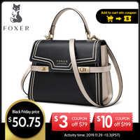 Bolsos de mensajero de cuero de gran capacidad de marca FOXER bolsos de hombro elegantes de lujo para mujer regalo de San Valentín para mujer