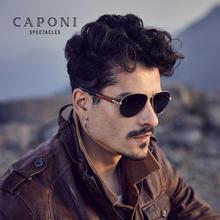 CAPONI унисекс солнцезащитные очки поляризованные пилот сплав очки в деревянной оправе Роскошные брендовые дизайнерские солнцезащитные очки для женщин и мужчин для вождения CP409