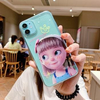 Transparent glitter cute girl phone case For OPPO Reno 4 3 2Z 2F PRO RALME XT X2 K5 A92S A52 A9X A11X A5 A9 2020 Anti-drop cover image